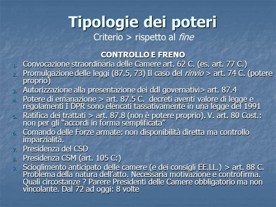 CONTROLLO E FRENO 1. Convocazione straordinaria delle Camere art. 62 C. (es. art. 77 C.) 2. Promulgazione delle leggi (87.5, 73) Il caso del rinvio >
