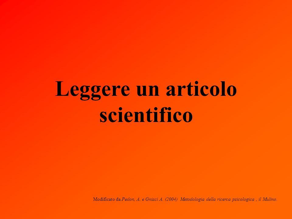 Leggere un articolo scientifico Modificato da Pedon, A.