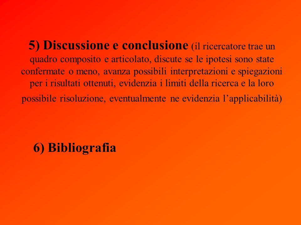 5) Discussione e conclusione (il ricercatore trae un quadro composito e articolato, discute se le ipotesi sono state confermate o meno, avanza possibili interpretazioni e spiegazioni per i risultati ottenuti, evidenzia i limiti della ricerca e la loro possibile risoluzione, eventualmente ne evidenzia lapplicabilità) 6) Bibliografia