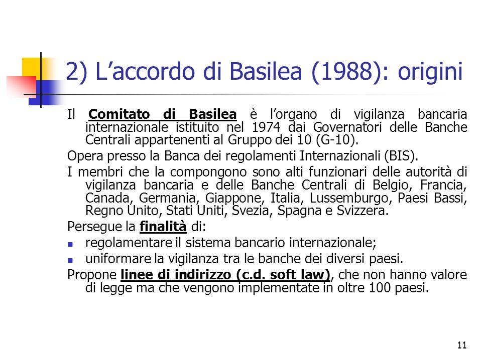 11 2) Laccordo di Basilea (1988): origini Il Comitato di Basilea è lorgano di vigilanza bancaria internazionale istituito nel 1974 dai Governatori del
