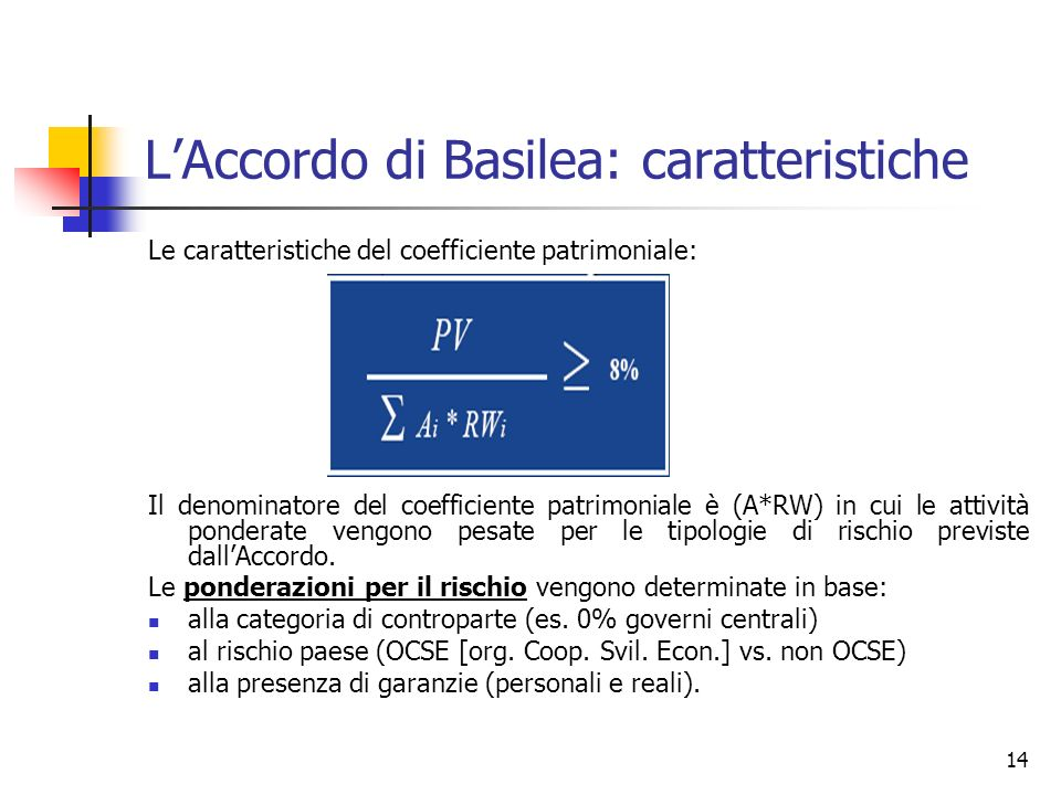 14 LAccordo di Basilea: caratteristiche Le caratteristiche del coefficiente patrimoniale: Il denominatore del coefficiente patrimoniale è (A*RW) in cu