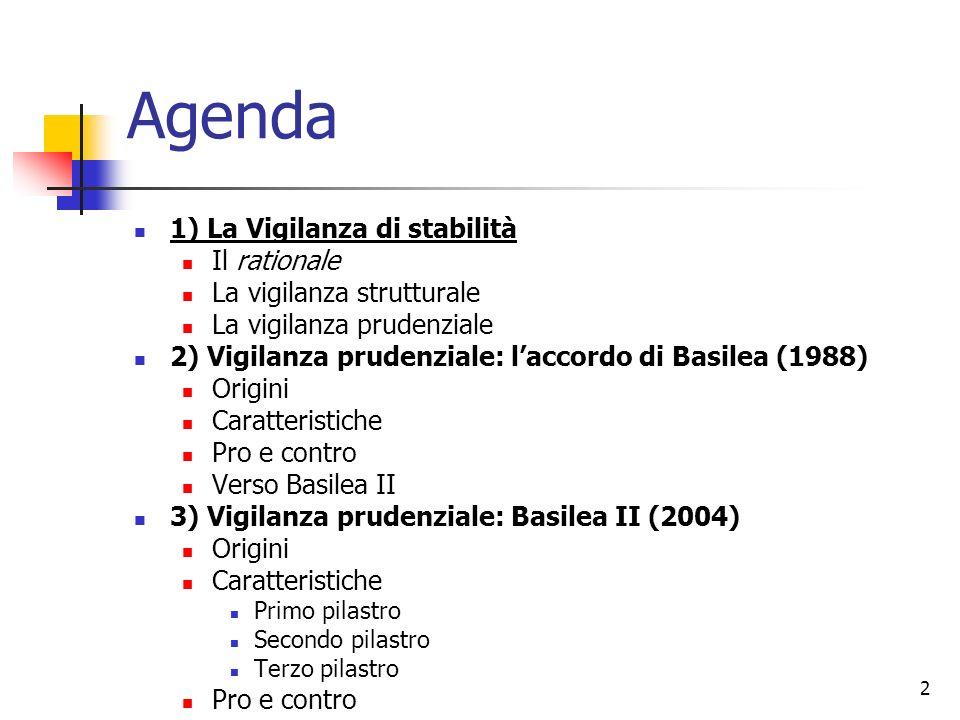 2 Agenda 1) La Vigilanza di stabilità Il rationale La vigilanza strutturale La vigilanza prudenziale 2) Vigilanza prudenziale: laccordo di Basilea (19