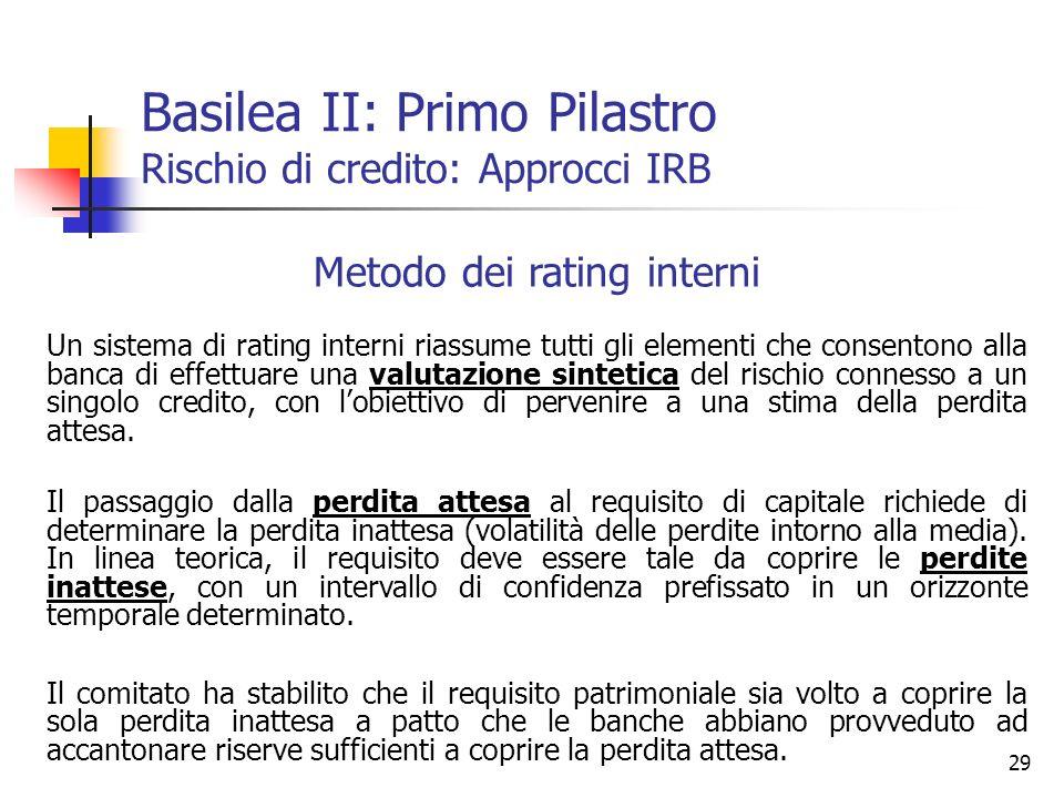 29 Metodo dei rating interni Un sistema di rating interni riassume tutti gli elementi che consentono alla banca di effettuare una valutazione sintetic