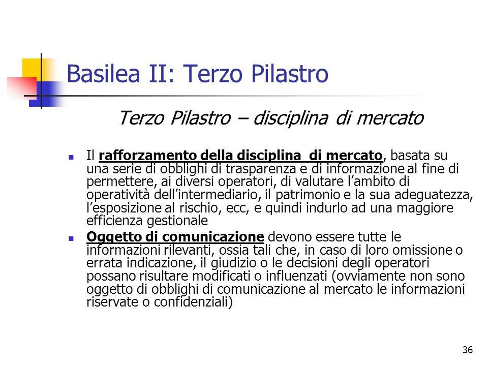 36 Basilea II: Terzo Pilastro Terzo Pilastro – disciplina di mercato Il rafforzamento della disciplina di mercato, basata su una serie di obblighi di
