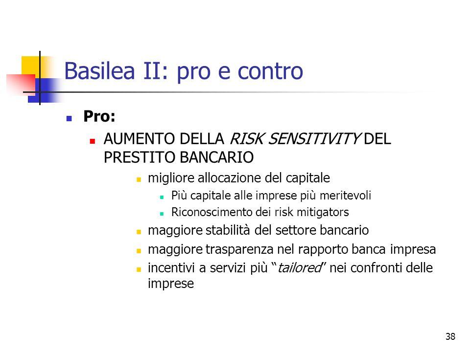 38 Basilea II: pro e contro Pro: AUMENTO DELLA RISK SENSITIVITY DEL PRESTITO BANCARIO migliore allocazione del capitale Più capitale alle imprese più