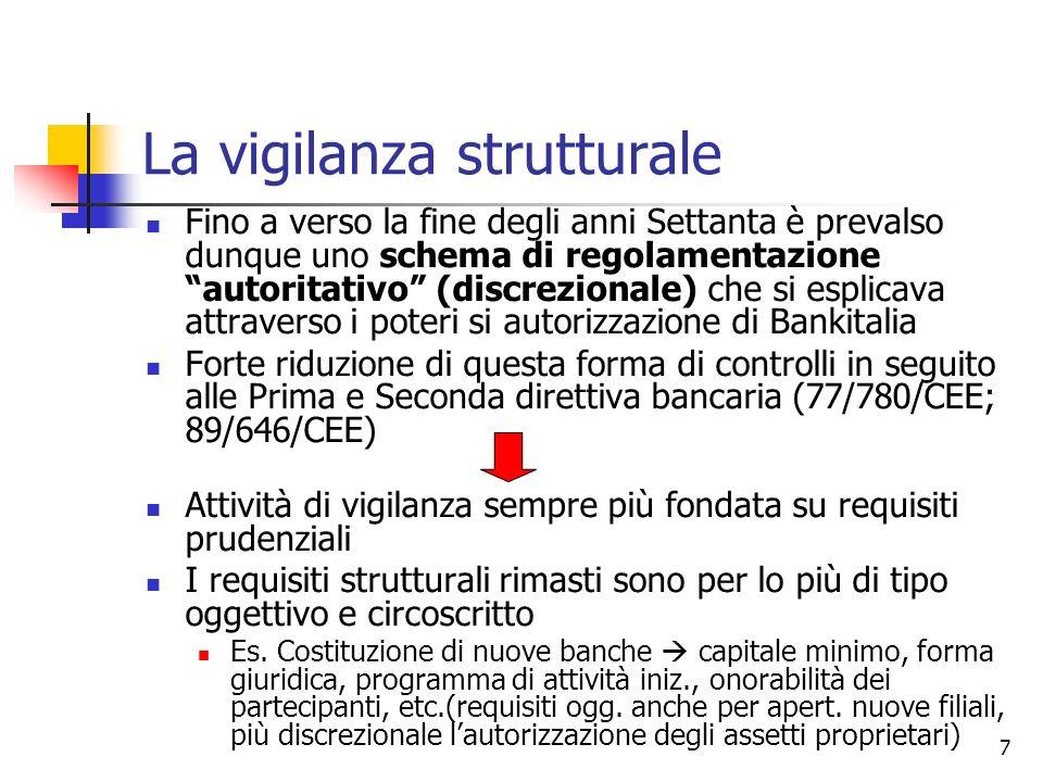 7 La vigilanza strutturale Fino a verso la fine degli anni Settanta è prevalso dunque uno schema di regolamentazione autoritativo (discrezionale) che
