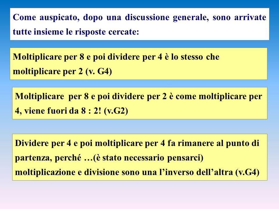 Come auspicato, dopo una discussione generale, sono arrivate tutte insieme le risposte cercate: Moltiplicare per 8 e poi dividere per 4 è lo stesso che moltiplicare per 2 (v.