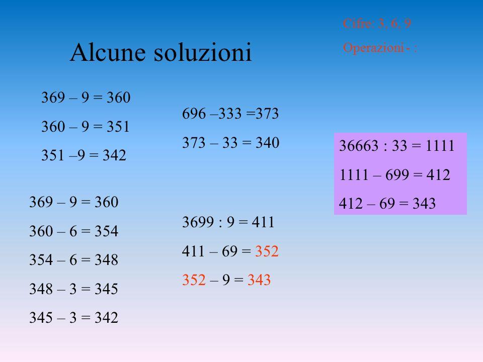 Alcune soluzioni 696 –333 =373 373 – 33 = 340 369 – 9 = 360 360 – 9 = 351 351 –9 = 342 369 – 9 = 360 360 – 6 = 354 354 – 6 = 348 348 – 3 = 345 345 – 3 = 342 Cifre: 3, 6, 9 Operazioni - : 3699 : 9 = 411 411 – 69 = 352 352 – 9 = 343 36663 : 33 = 1111 1111 – 699 = 412 412 – 69 = 343