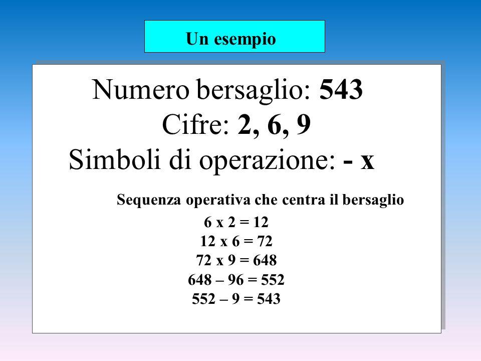 Numero bersaglio: 543 Cifre: 2, 6, 9 Simboli di operazione: - x Sequenza operativa che centra il bersaglio 6 x 2 = 12 12 x 6 = 72 72 x 9 = 648 648 – 96 = 552 552 – 9 = 543 Un esempio
