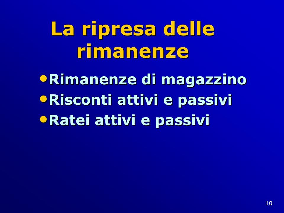 10 La ripresa delle rimanenze Rimanenze di magazzino Risconti attivi e passivi Ratei attivi e passivi Rimanenze di magazzino Risconti attivi e passivi