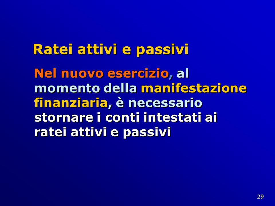 29 Ratei attivi e passivi Nel nuovo esercizio, al momento della manifestazione finanziaria, è necessario stornare i conti intestati ai ratei attivi e