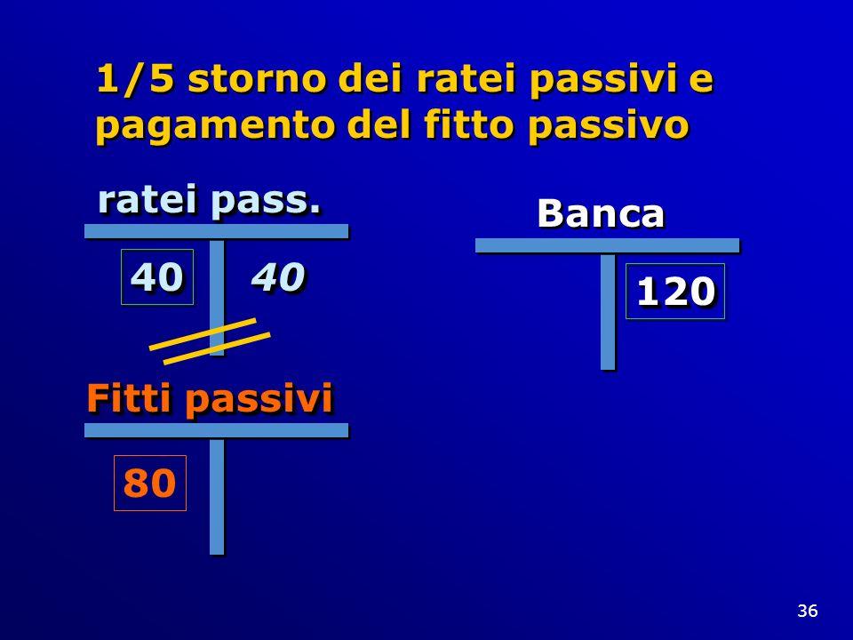 36 1/5 storno dei ratei passivi e pagamento del fitto passivo ratei pass. 4040 Banca 120120 Fitti passivi 80 4040