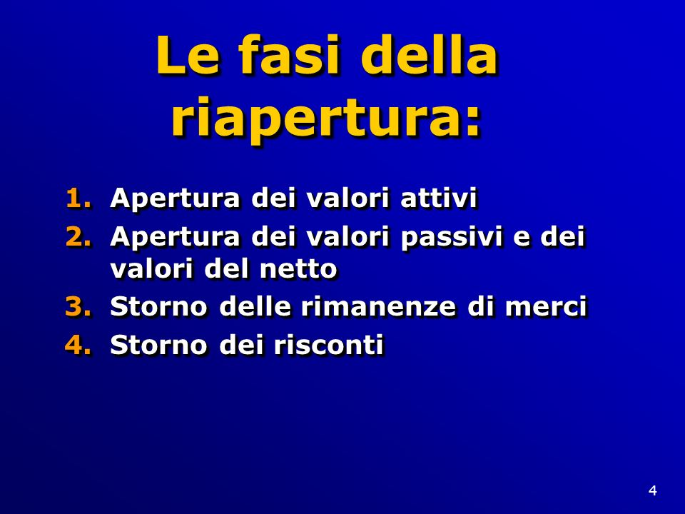4 Le fasi della riapertura: 1.Apertura dei valori attivi 2.Apertura dei valori passivi e dei valori del netto 3.Storno delle rimanenze di merci 4.Stor