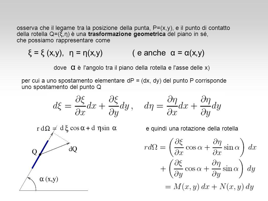 osserva che il legame tra la posizione della punta, P=(x,y), e il punto di contatto della rotella Q=(ξ,η) è una trasformazione geometrica del piano in