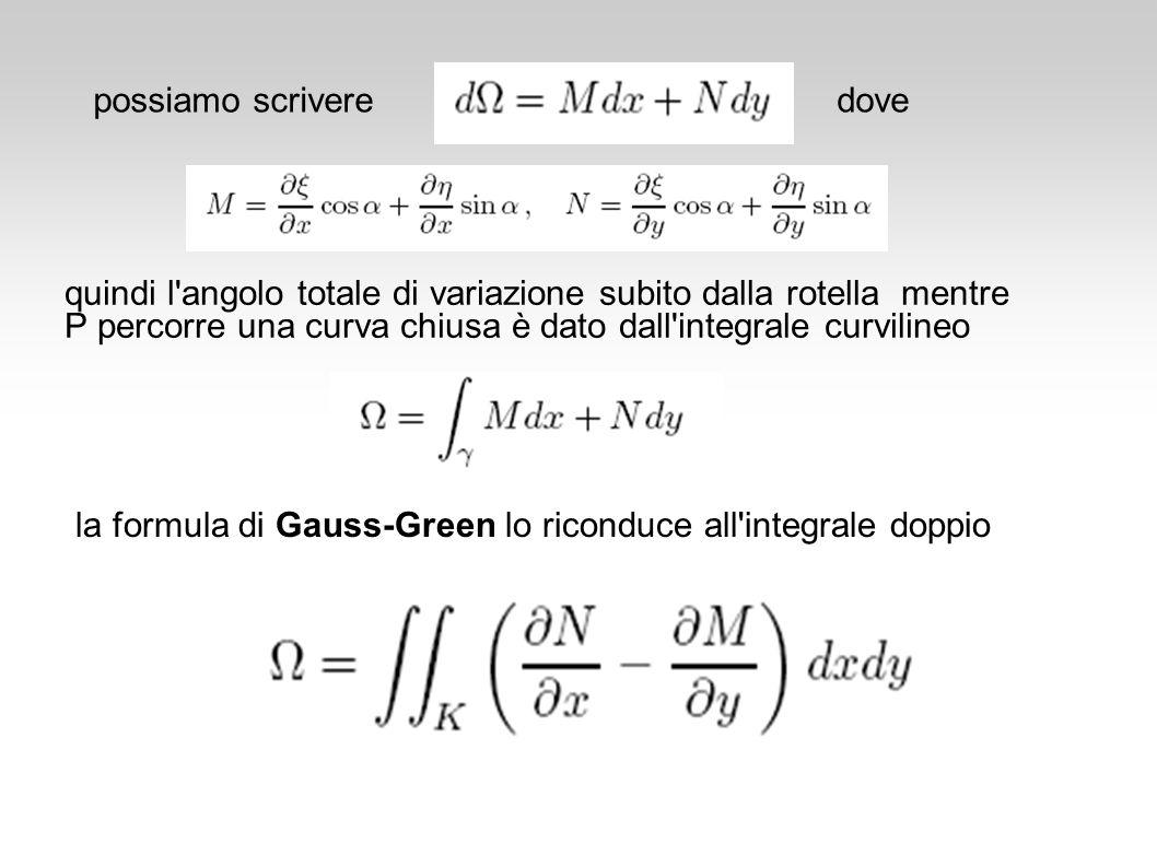 quindi l'angolo totale di variazione subito dalla rotella mentre P percorre una curva chiusa è dato dall'integrale curvilineo la formula di Gauss-Gree