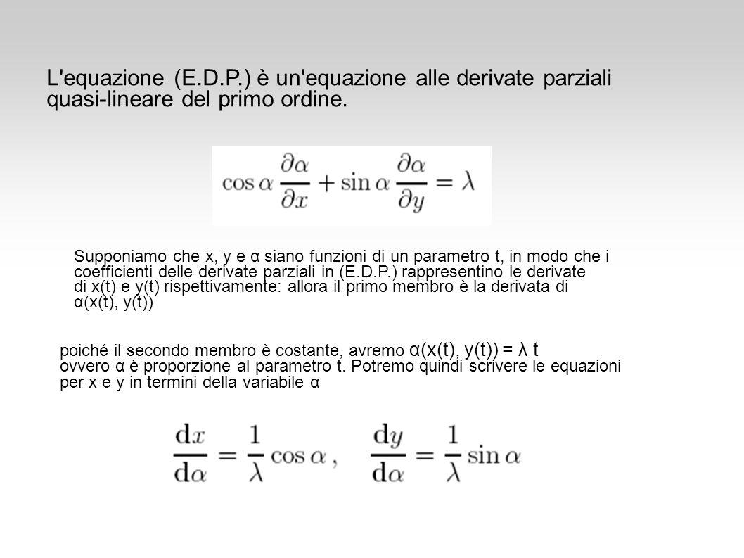 L'equazione (E.D.P.) è un'equazione alle derivate parziali quasi-lineare del primo ordine. poiché il secondo membro è costante, avremo α(x(t), y(t)) =