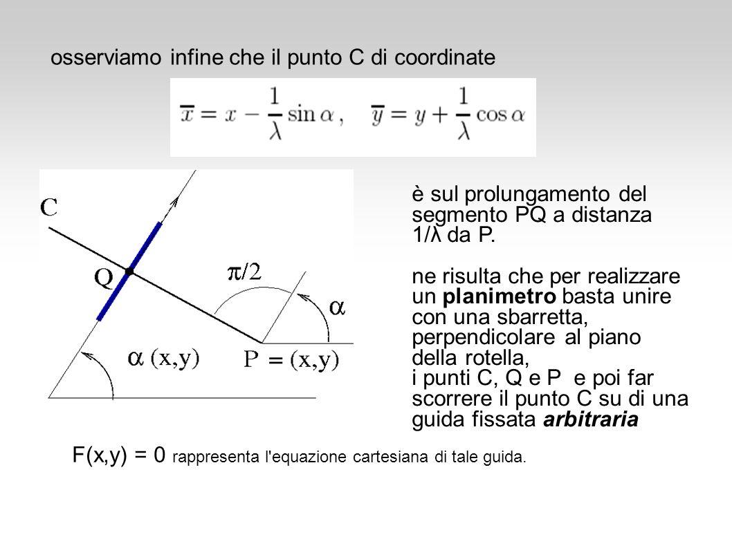 osserviamo infine che il punto C di coordinate è sul prolungamento del segmento PQ a distanza 1/λ da P. ne risulta che per realizzare un planimetro ba
