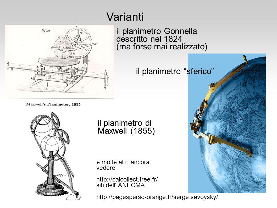 Varianti il planimetro Gonnella descritto nel 1824 (ma forse mai realizzato) il planimetro sferico il planimetro di Maxwell (1855) e molte altri ancor
