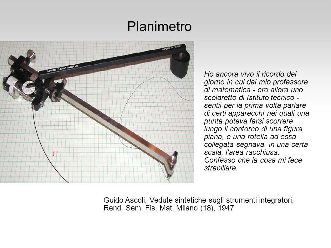Varianti il planimetro Gonnella descritto nel 1824 (ma forse mai realizzato) il planimetro sferico il planimetro di Maxwell (1855) e molte altri ancora vedere http://calcollect.free.fr/ siti dell ANECMA http://pagesperso-orange.fr/serge.savoysky/