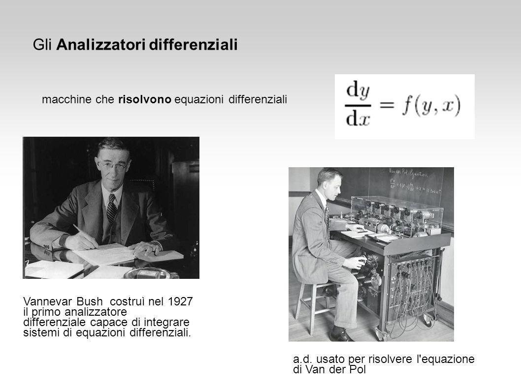 Gli Analizzatori differenziali macchine che risolvono equazioni differenziali Vannevar Bush costruì nel 1927 il primo analizzatore differenziale capac