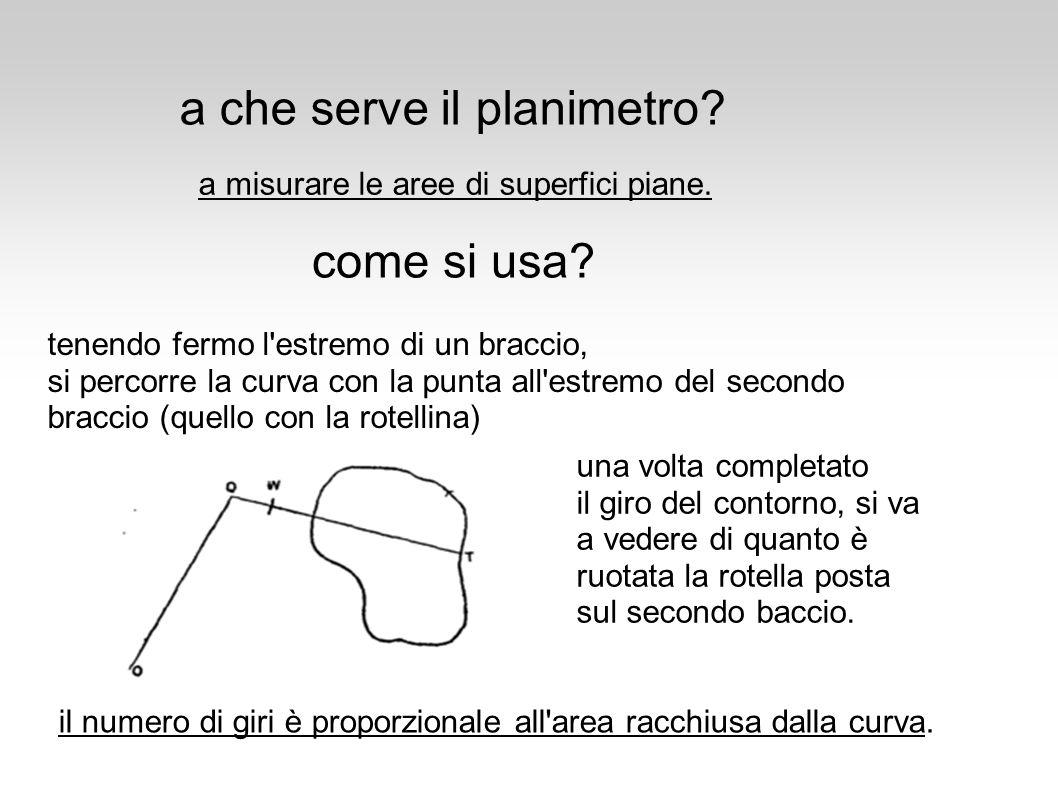 principio base del funzionamento alla base del funzionamento c è il concetto di area spazzata Funzionamento del planimetro: spiegazione intuitiva basato sulla spiegazione di O.
