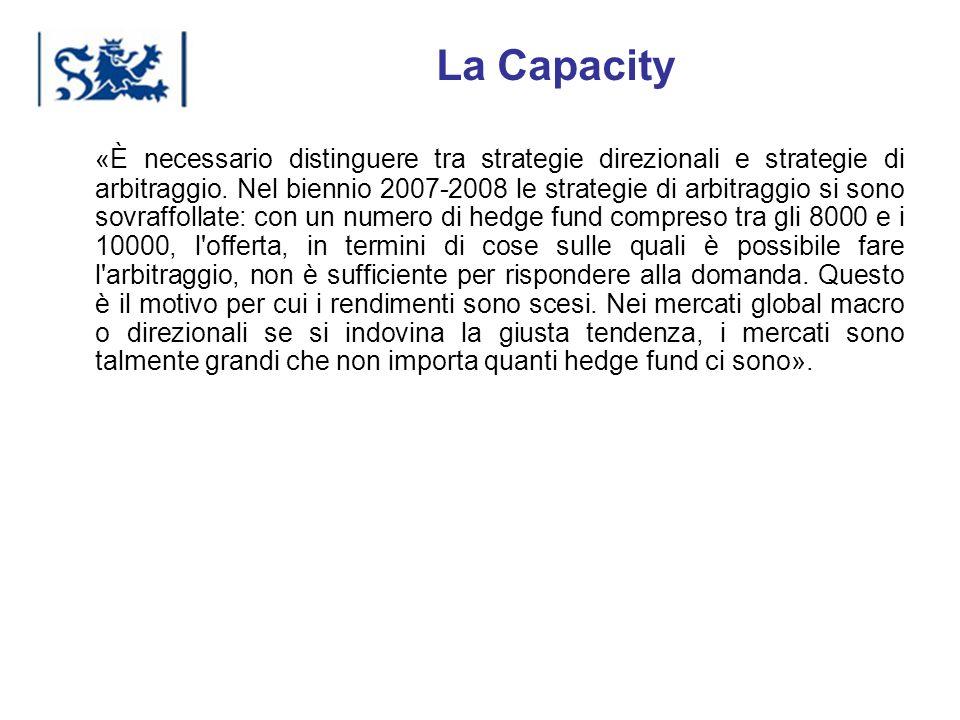 Luxembourg 03-2009 La Capacity «È necessario distinguere tra strategie direzionali e strategie di arbitraggio. Nel biennio 2007-2008 le strategie di a