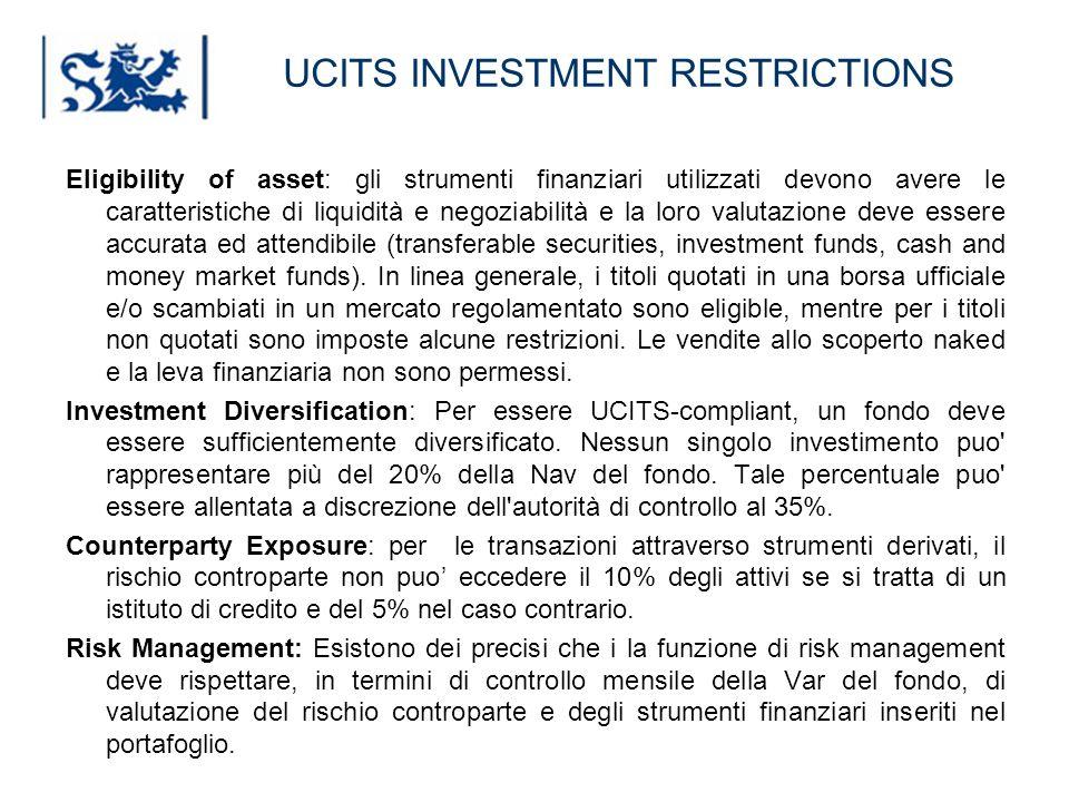 Luxembourg 03-2009 UCITS INVESTMENT RESTRICTIONS Eligibility of asset: gli strumenti finanziari utilizzati devono avere le caratteristiche di liquidit