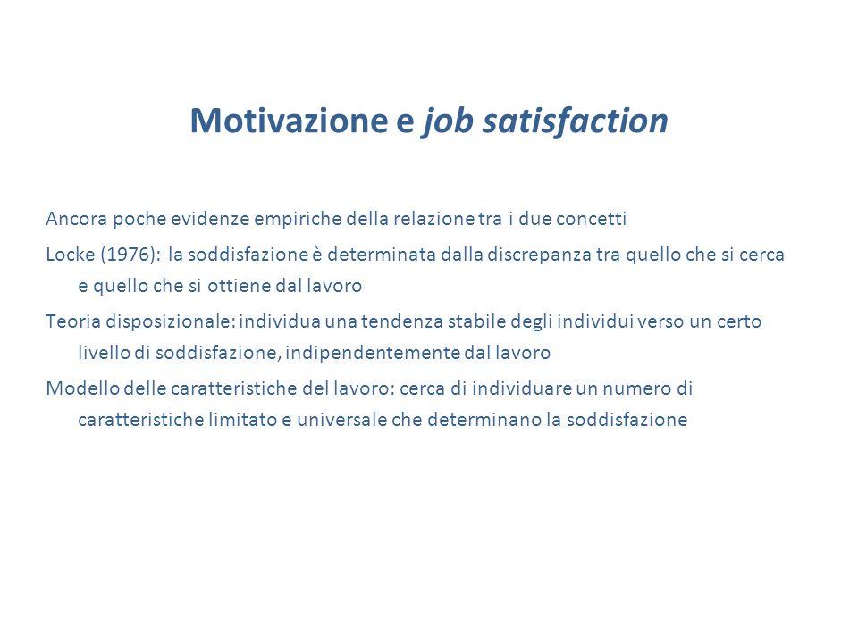 Motivazione e job satisfaction Ancora poche evidenze empiriche della relazione tra i due concetti Locke (1976): la soddisfazione è determinata dalla d