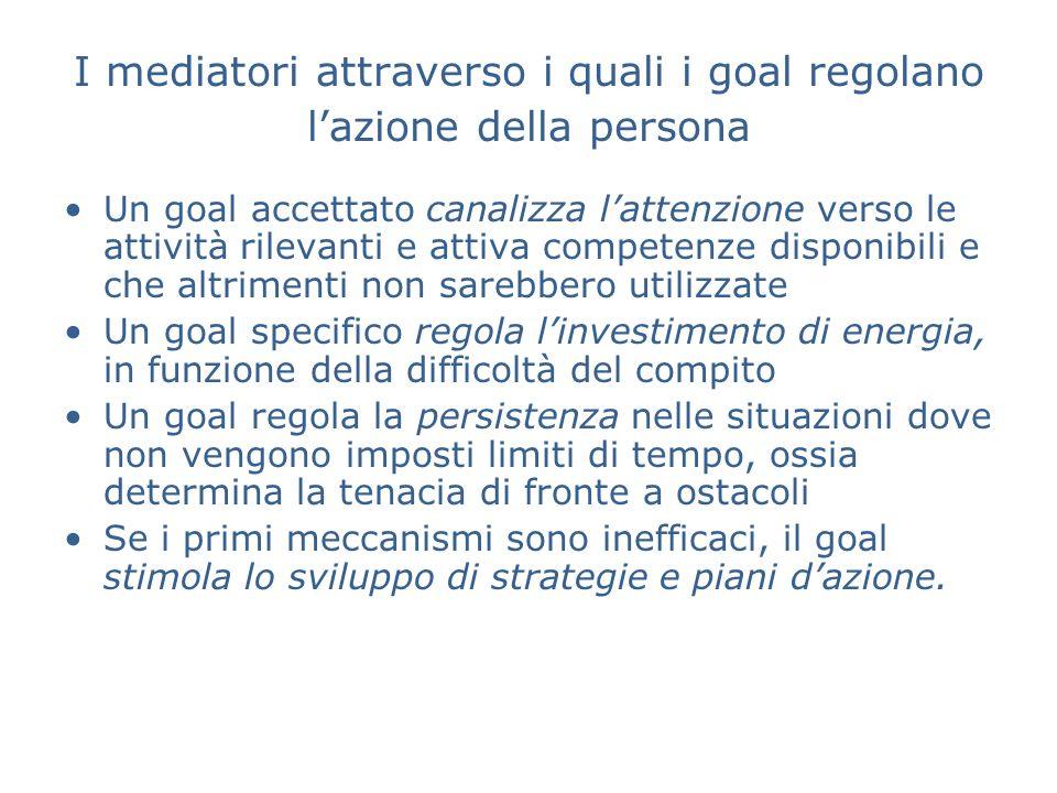 I mediatori attraverso i quali i goal regolano lazione della persona Un goal accettato canalizza lattenzione verso le attività rilevanti e attiva comp