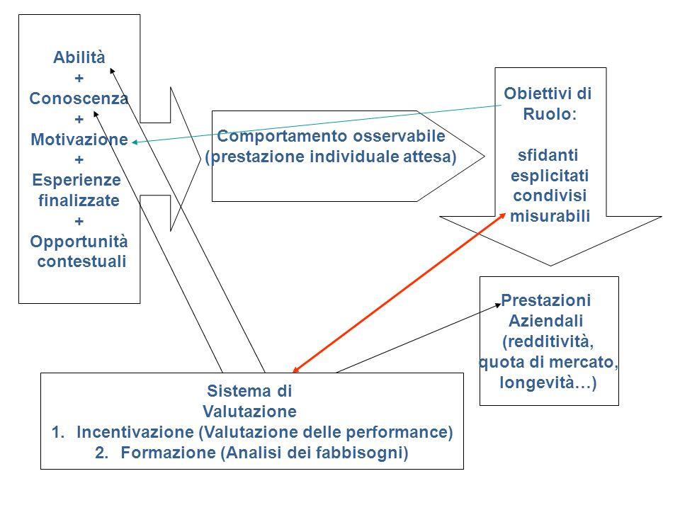 Abilità + Conoscenza + Motivazione + Esperienze finalizzate + Opportunità contestuali Comportamento osservabile (prestazione individuale attesa) Obiet