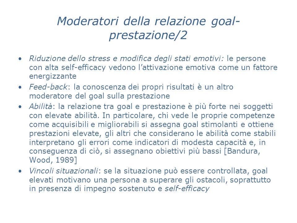 Moderatori della relazione goal- prestazione/2 Riduzione dello stress e modifica degli stati emotivi: le persone con alta self-efficacy vedono lattiva