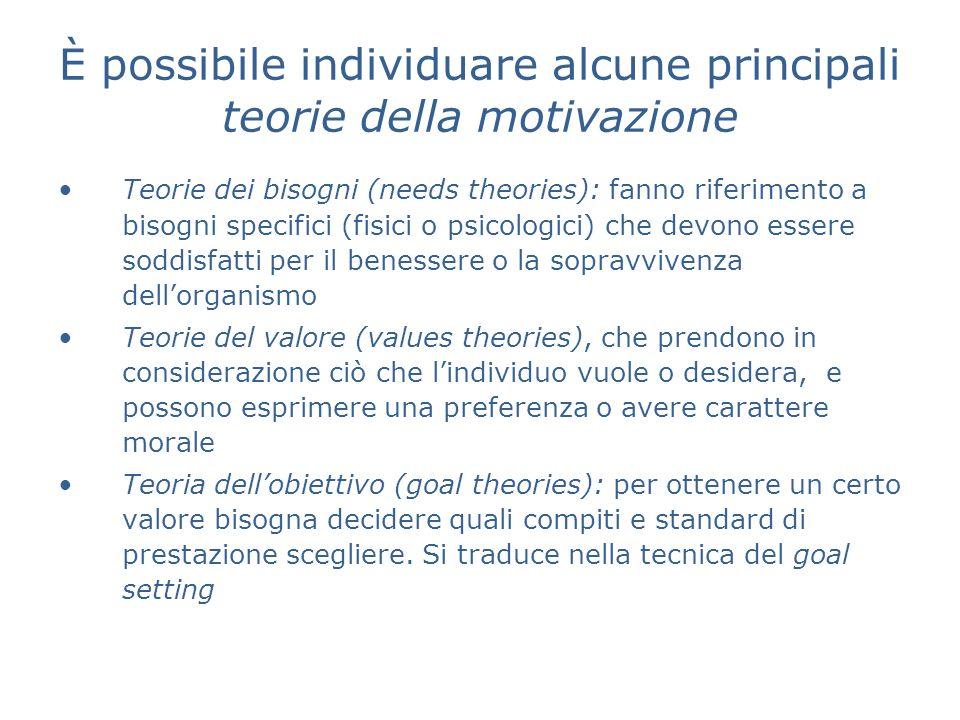 È possibile individuare alcune principali teorie della motivazione Teorie dei bisogni (needs theories): fanno riferimento a bisogni specifici (fisici