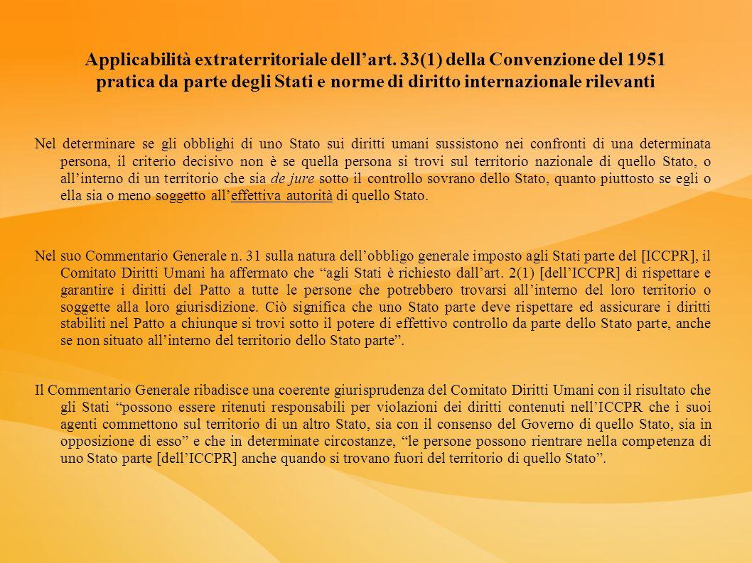 Applicabilità extraterritoriale dellart. 33(1) della Convenzione del 1951 pratica da parte degli Stati e norme di diritto internazionale rilevanti Nel