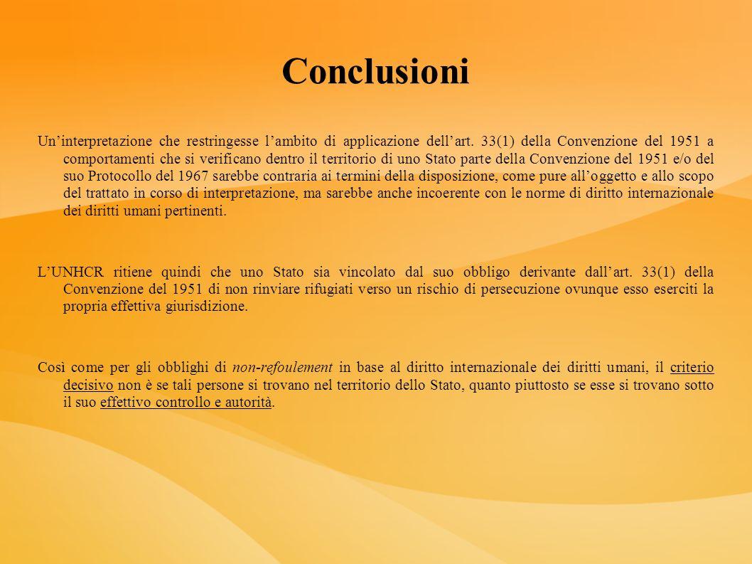 Conclusioni Uninterpretazione che restringesse lambito di applicazione dellart. 33(1) della Convenzione del 1951 a comportamenti che si verificano den