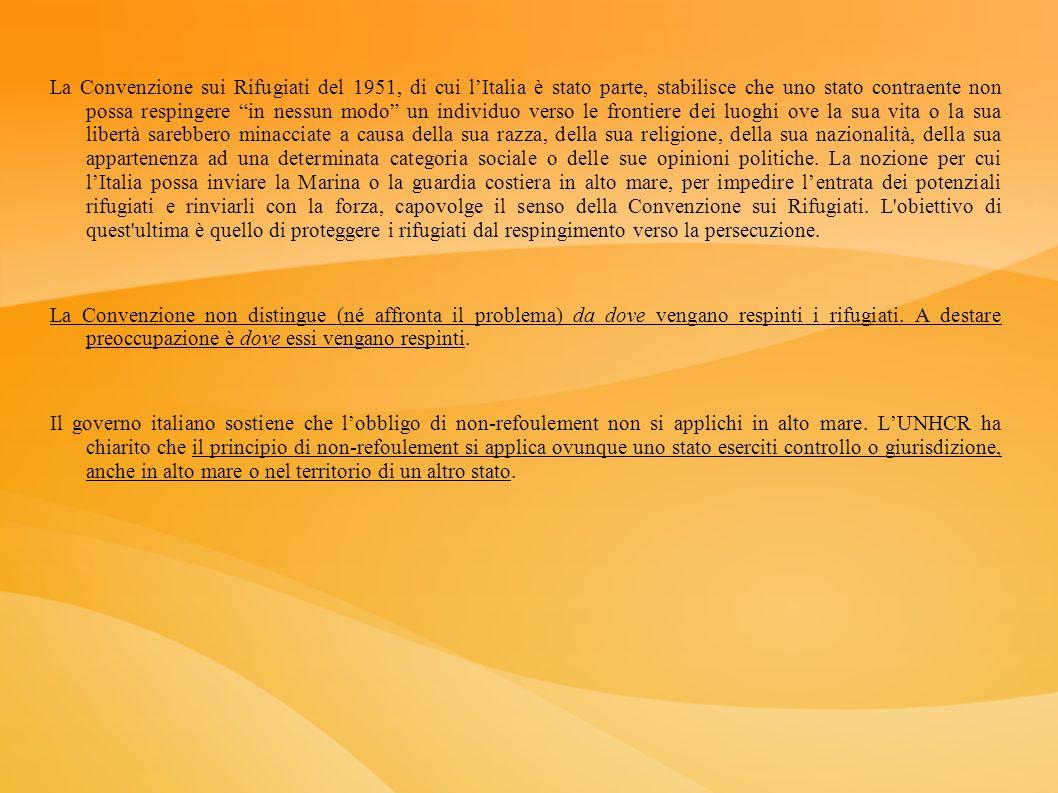 La Convenzione sui Rifugiati del 1951, di cui lItalia è stato parte, stabilisce che uno stato contraente non possa respingere in nessun modo un indivi