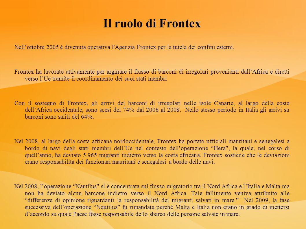 Il ruolo di Frontex Nellottobre 2005 è divenuta operativa l'Agenzia Frontex per la tutela dei confini esterni. Frontex ha lavorato attivamente per arg