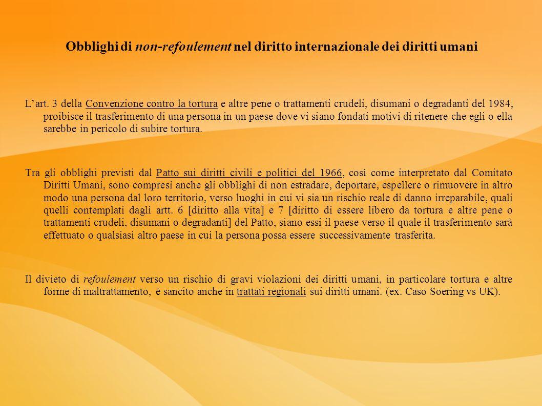 Obblighi di non-refoulement nel diritto internazionale dei diritti umani Lart. 3 della Convenzione contro la tortura e altre pene o trattamenti crudel