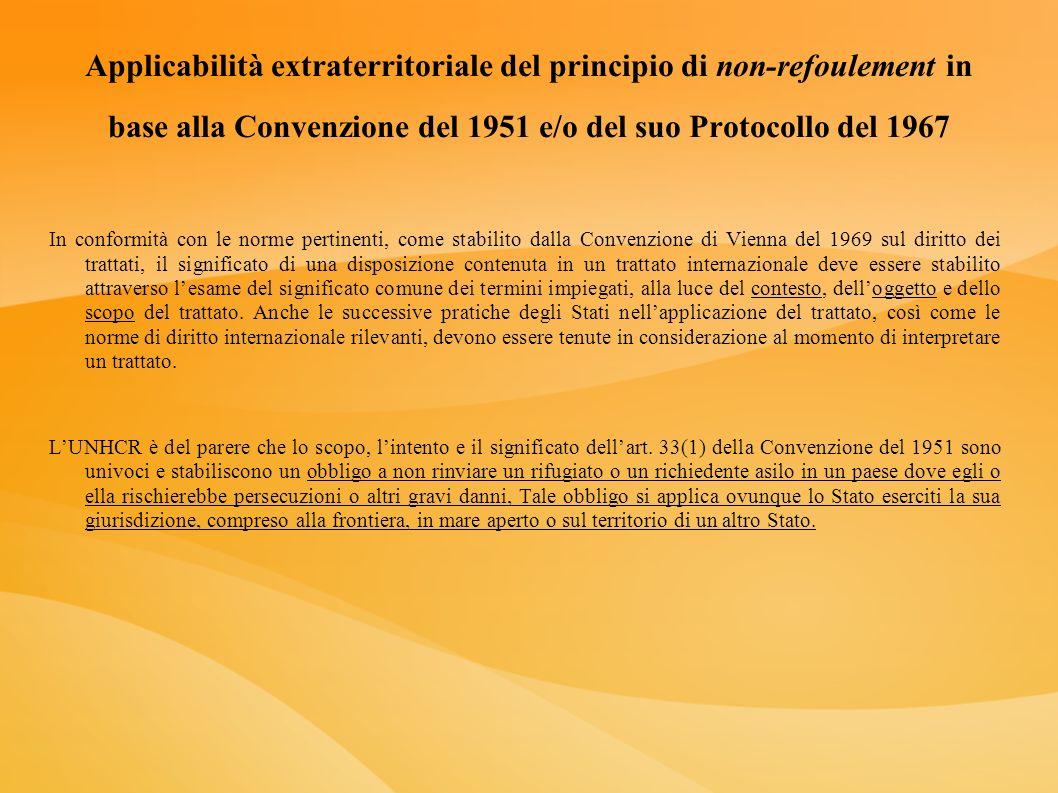 Applicabilità extraterritoriale del principio di non-refoulement in base alla Convenzione del 1951 e/o del suo Protocollo del 1967 In conformità con l