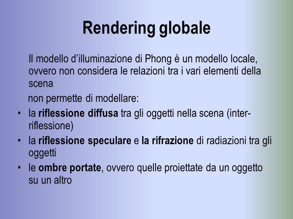 Rendering globale Il modello dilluminazione di Phong è un modello locale, ovvero non considera le relazioni tra i vari elementi della scena non permet