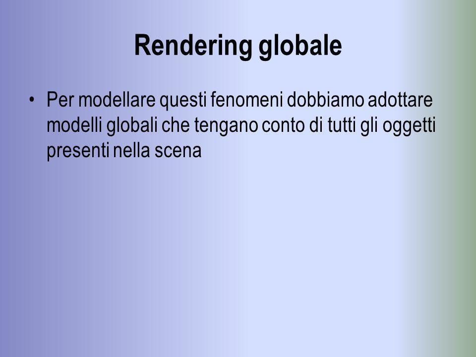 Rendering globale Per modellare questi fenomeni dobbiamo adottare modelli globali che tengano conto di tutti gli oggetti presenti nella scena
