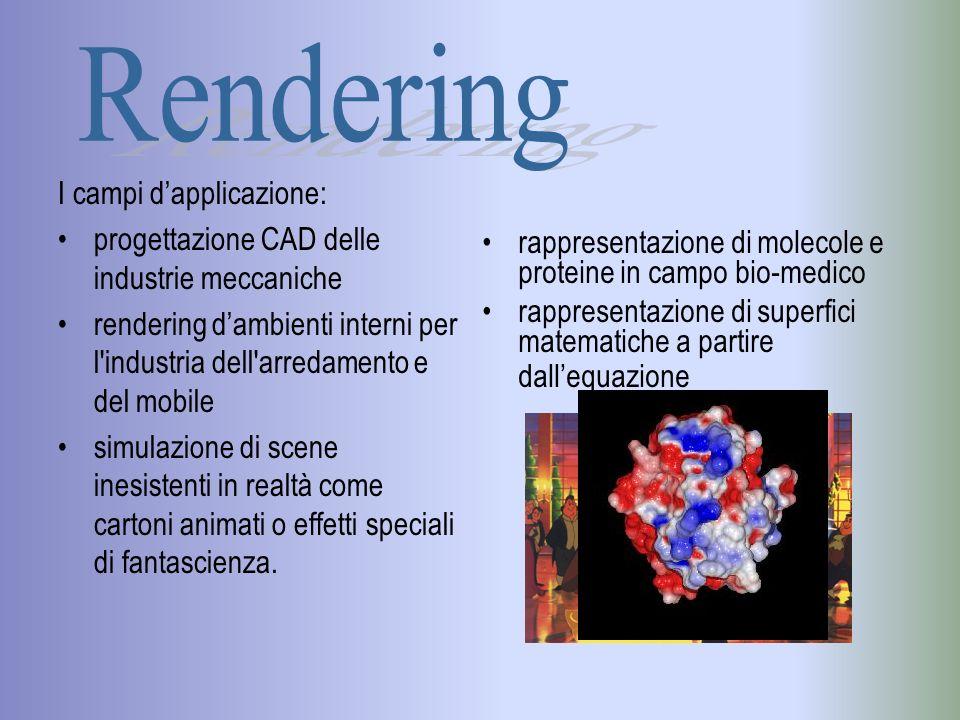 Rendering globale Il modello dilluminazione di Phong è un modello locale, ovvero non considera le relazioni tra i vari elementi della scena non permette di modellare: la riflessione diffusa tra gli oggetti nella scena (inter- riflessione) la riflessione speculare e la rifrazione di radiazioni tra gli oggetti le ombre portate, ovvero quelle proiettate da un oggetto su un altro