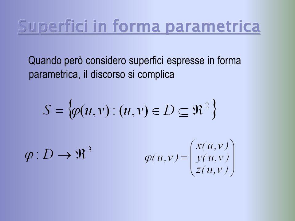 Quando però considero superfici espresse in forma parametrica, il discorso si complica