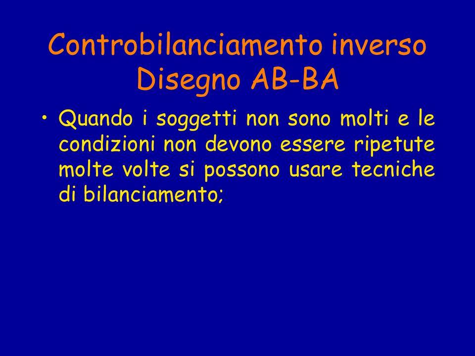 Controbilanciamento inverso Disegno AB-BA Quando i soggetti non sono molti e le condizioni non devono essere ripetute molte volte si possono usare tecniche di bilanciamento;