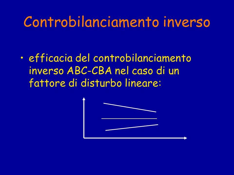 Controbilanciamento inverso efficacia del controbilanciamento inverso ABC-CBA nel caso di un fattore di disturbo lineare: