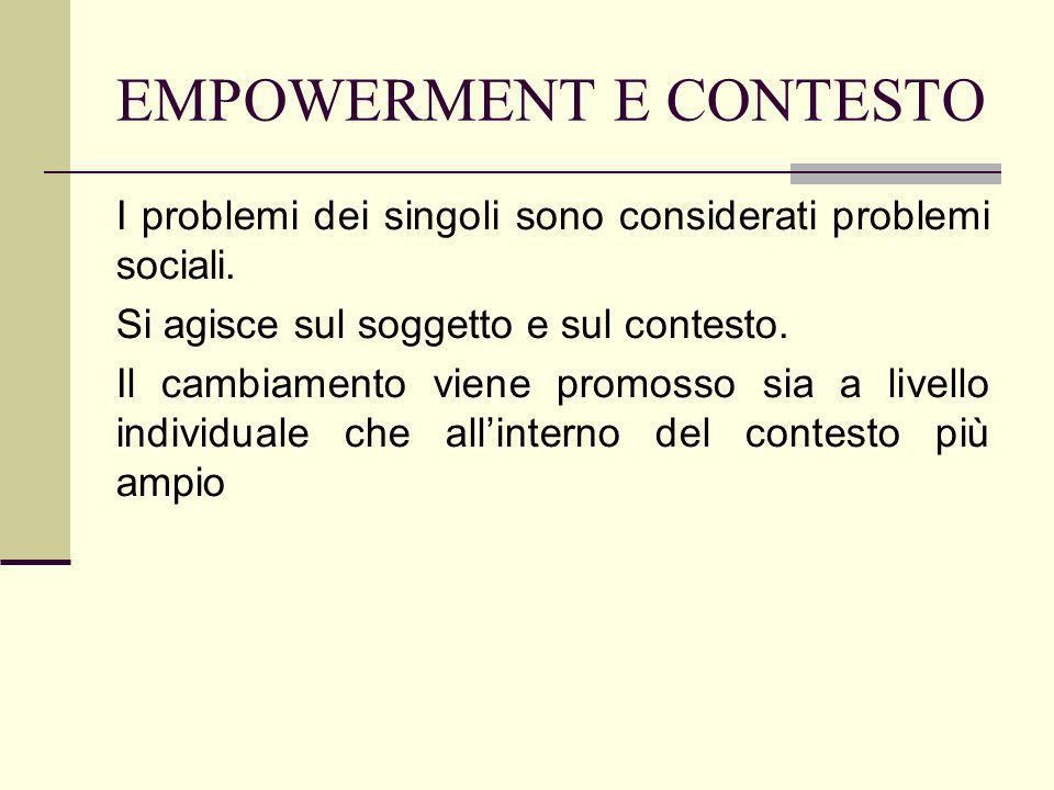 EMPOWERMENT E CONTESTO I problemi dei singoli sono considerati problemi sociali. Si agisce sul soggetto e sul contesto. Il cambiamento viene promosso