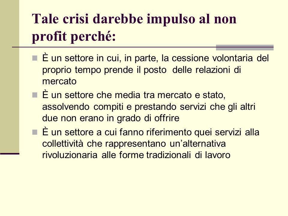 Tale crisi darebbe impulso al non profit perché: È un settore in cui, in parte, la cessione volontaria del proprio tempo prende il posto delle relazio