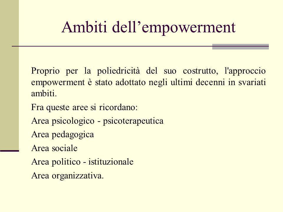 Ambiti dellempowerment Proprio per la poliedricità del suo costrutto, l'approccio empowerment è stato adottato negli ultimi decenni in svariati ambiti