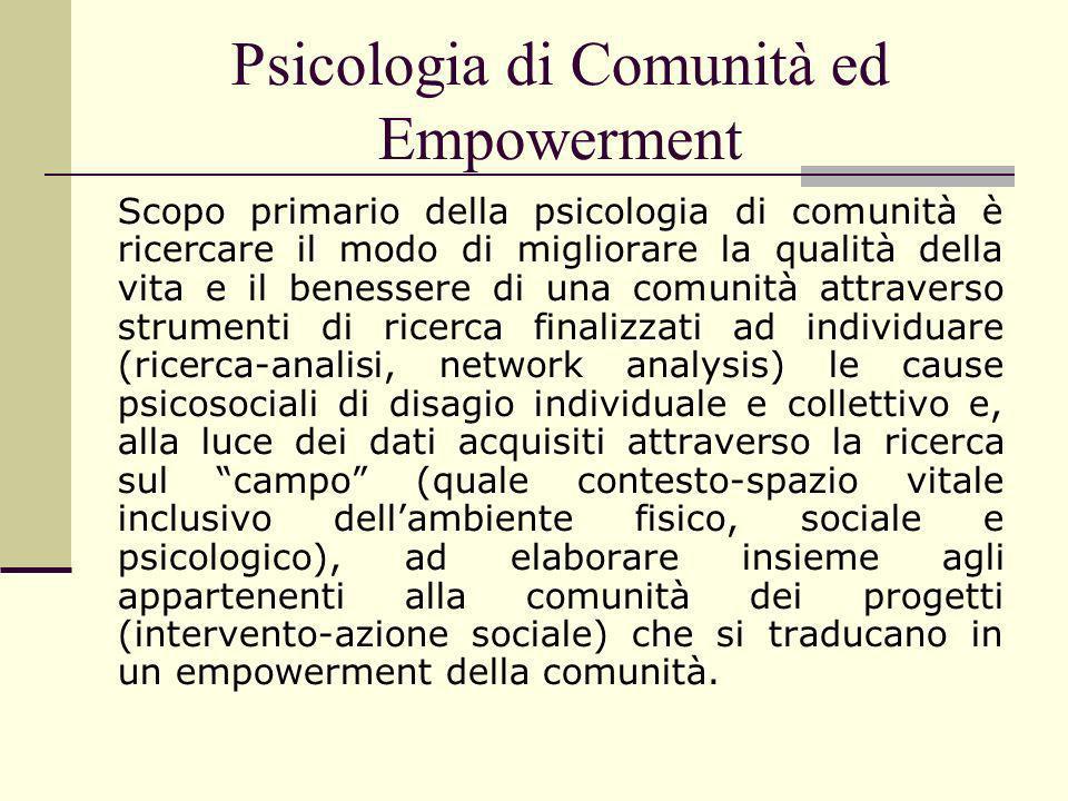 Psicologia di Comunità ed Empowerment Scopo primario della psicologia di comunità è ricercare il modo di migliorare la qualità della vita e il benesse