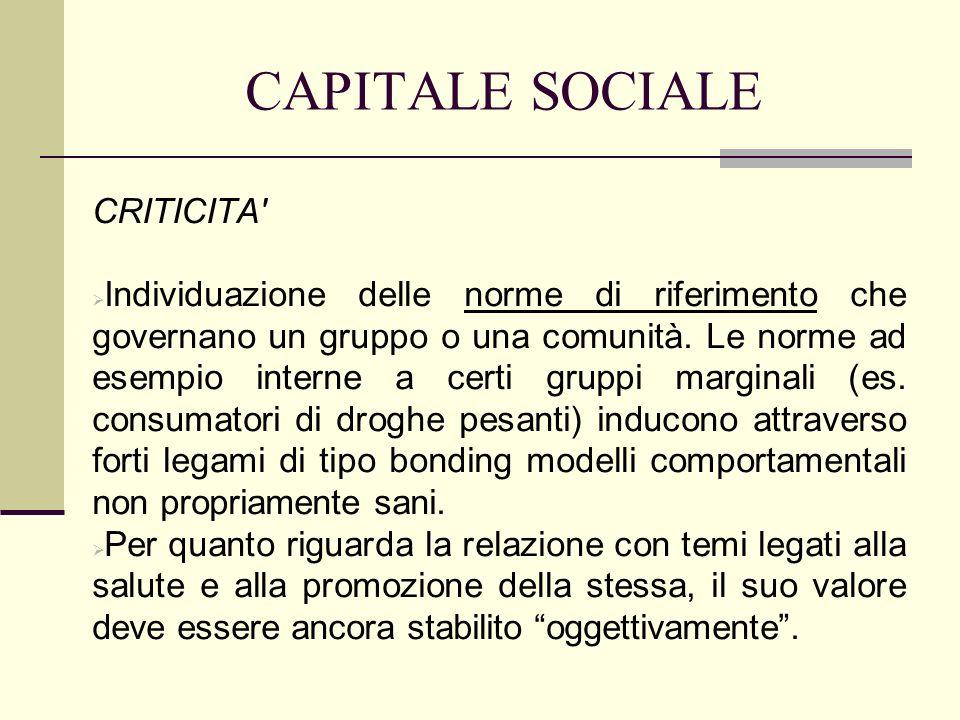 CAPITALE SOCIALE CRITICITA' Individuazione delle norme di riferimento che governano un gruppo o una comunità. Le norme ad esempio interne a certi grup