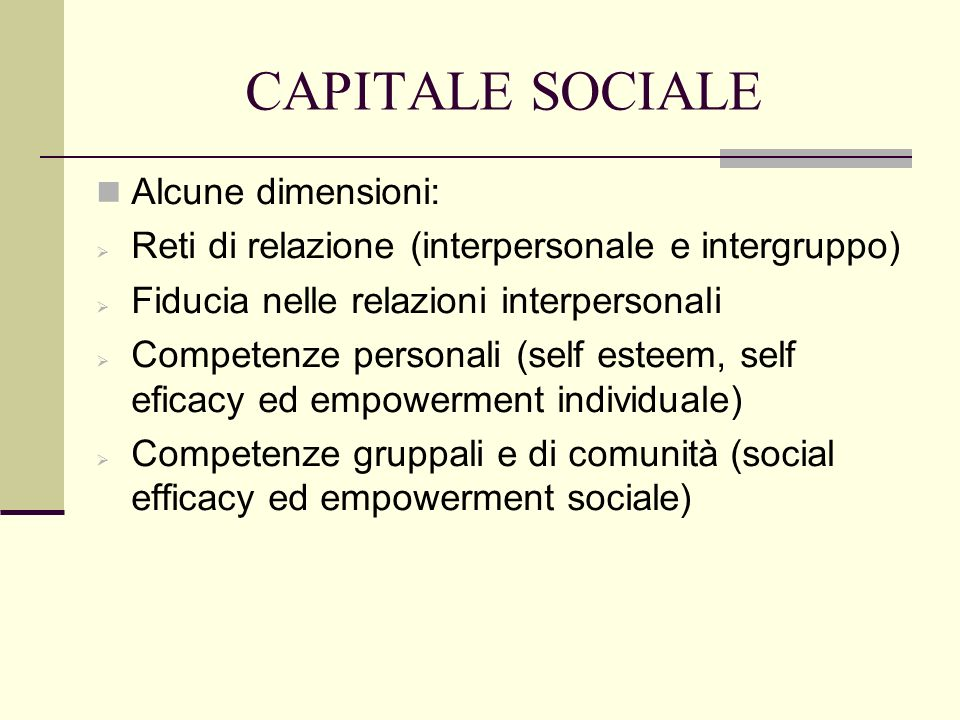 CAPITALE SOCIALE Veri modelli e declinazioni del concetto Saegert e Winkel (1998) hanno dimostrato come esso sia un predittore significativo della qualità dellabitare nei contesti urbani.